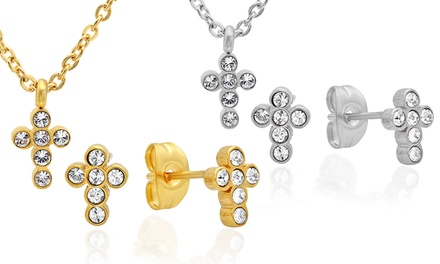 Kids' Cross Pendant and Earring Set with Swarovski Elements Crystals