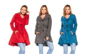 Women's Flared Button-Down Coat: Women's Flared Button-Down Coat