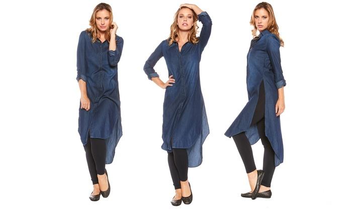 Women&-39-s Long Denim Dress - Groupon Goods