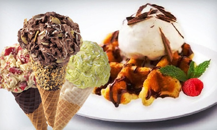 Marble Slab Creamery - Richmond Row: Ice Cream or Frozen Yogurt Cones, Belgian-Waffle Delights or Half-Litres at Marble Slab Creamery (Up to 53% Off)