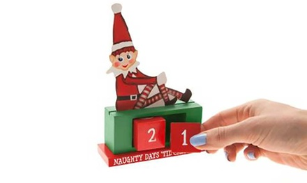 One, Two or Three Wooden Elf Advent Counters