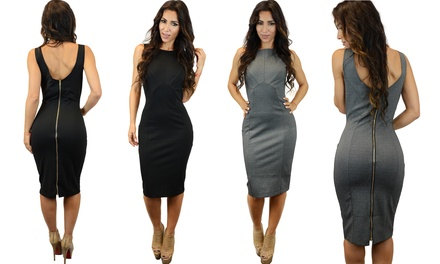 Midi-Length Bodycon Dress with Zipper Back