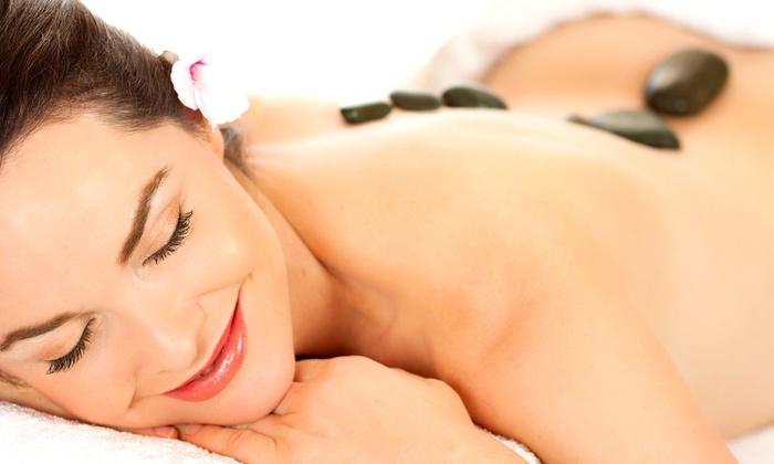 SunSera Salons - SunSera Salons: Hot-Stone Massages with Optional Sauna Session at SunSera Salons (Up to 58% Off). Three Options Available.