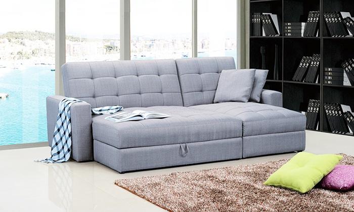 corner storage sofa bed groupon goods. Black Bedroom Furniture Sets. Home Design Ideas