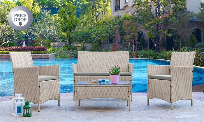 groupon goods global gmbh rattan effect garden furniture set in choice of colour for