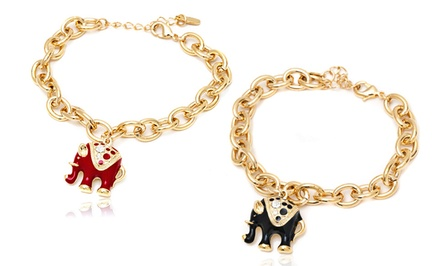 Elephant Charm Bracelets with Swarovski Elements