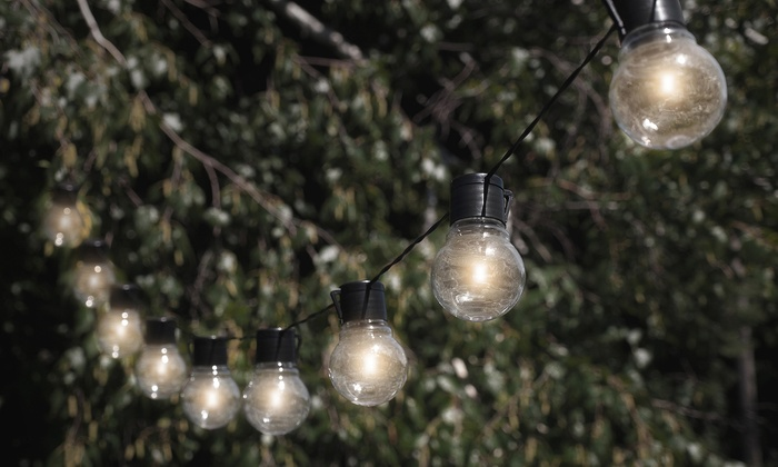 nitebulbs solar powered outdoor string lights groupon