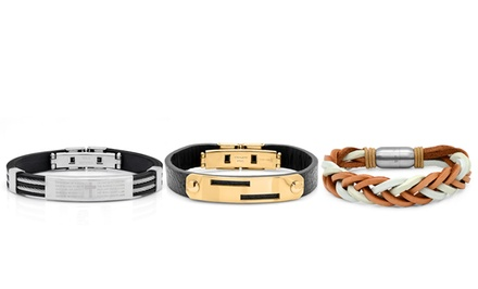 Men's Stainless Steel, Rubber, or Leather Bracelets. Multiple Options From $17.99–$21.99