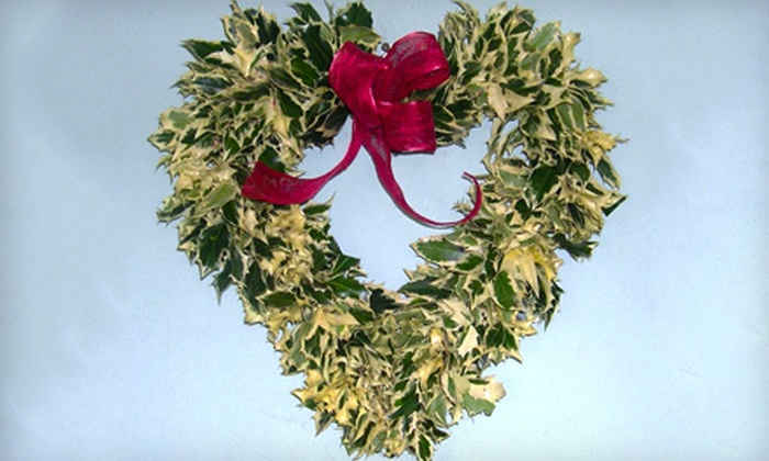 Oregon Holly Company: $49 for a 16-Inch Heart-Shaped Holly Wreath from Oregon Holly Company ($99 Value)
