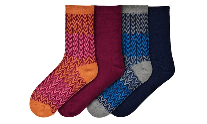 Women's Zig Zag Boot Socks 4-Pack: Women's Zig Zag Boot Socks 4-Pack