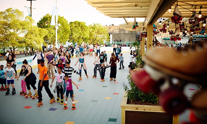 Delaware River Waterfront - Delaware River Waterfront: Rollerskating with Rental Skates for Two at Blue Cross RiverRink Summerfest (Up to 50% Off). Two Options Available.