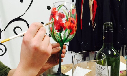 Byob wine glass painting art plus studio groupon for Groupon wine and paint
