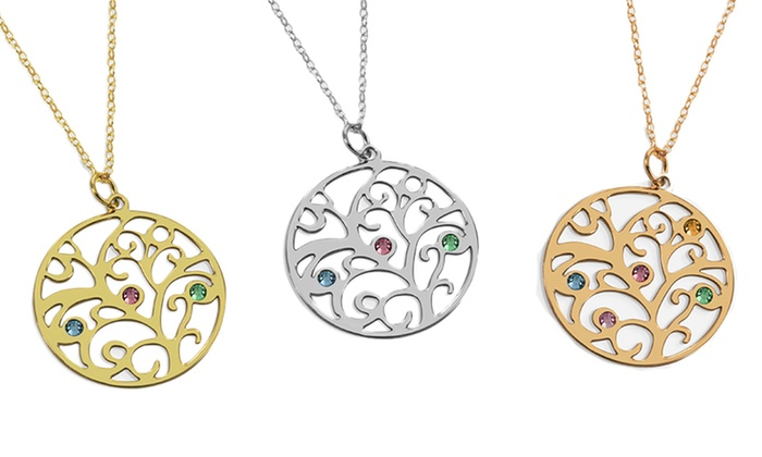Birthstone family tree necklace groupon goods birthstone family tree necklace aloadofball Choice Image