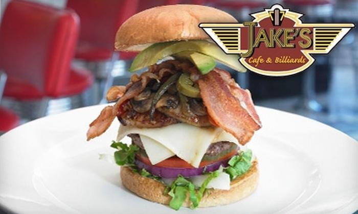 Jake's Burgers & Billiards  - Old Pasadena: $10 for $20 Worth of Burgers, Drinks, and More at Jake's Burgers & Billiards in Pasadena