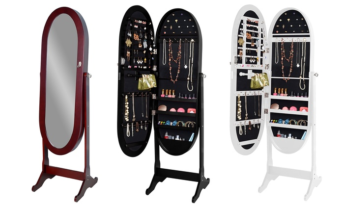 free standing mirror jewelry armoire plans amazon box canada oval shaped freestanding