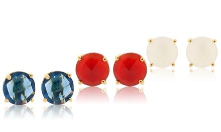 4.00 CTW Stud Earrings in 18K Gold Plating