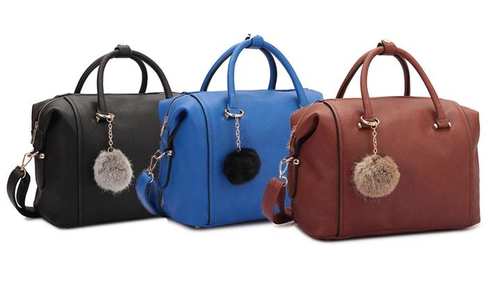 Faux Leather Satchel Handbag with Pom Pom | Groupon