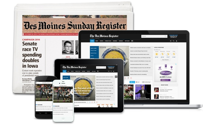 Des Moines Register - Des Moines: 26- or 52-Week Sunday Subscription or 52-Week Digital Subscription of the Des Moines Register (Up to 80% Off)