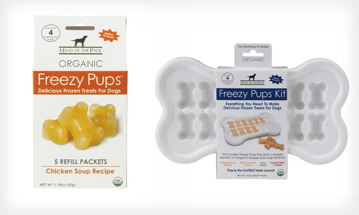 Freezy Pups Bundle: $20 for a Freezy Pups Frozen-Dog-Treat Bundle with Tray, Four Flavors, and Refill ($51.98 List Price). Free Shipping.