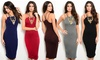 Double Strap Bodycon Midi Dress: Double Strap Bodycon Midi Dress
