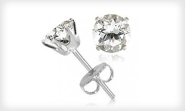 2-Carat White-Topaz Stud Earrings: $4.99 for a Pair of 2-Carat White-Topaz Stud Earrings ($100 List Price)