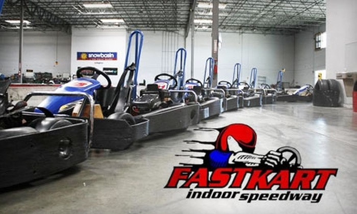 Fast Kart Indoor Speedway - East Central: $25 for Two Race Sessions, One Appetizer, and Two Fountain Drinks at Fast Kart Indoor Speedway (Up to $51 Value). Choose Between Two Options.