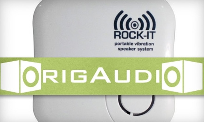 OrigAudio: $20 for a Rock-It Portable Vibration Speaker System ($49.99 Value)