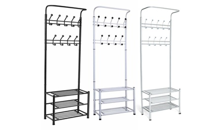 Multi-Function Shoe and Coat Storage Racks in Black, White and Grey from £29.99 With Free Delivery