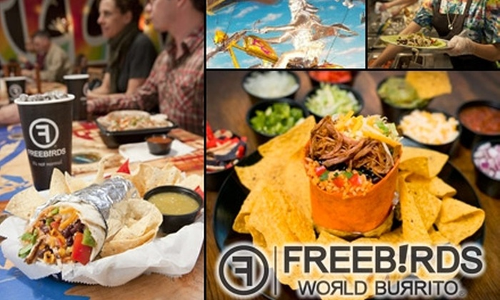 Freebirds World Burrito - Multiple Locations: $5 for $10 Worth of Burritos, Tacos, Salads, and More at Freebirds World Burrito