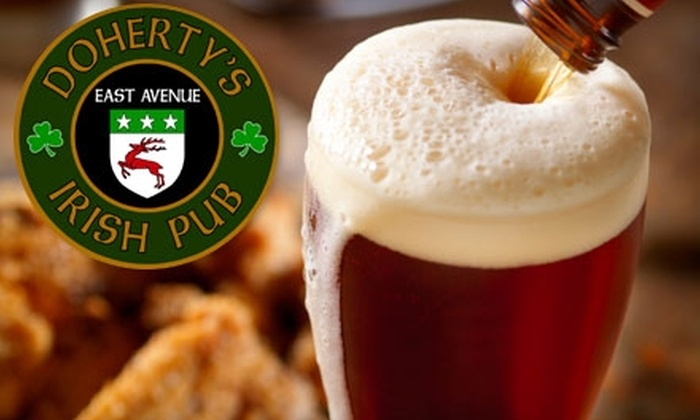 Doherty's East Ave Irish Pub - Pawtucket: $10 for $20 Worth of Irish Pub Fare at Doherty's East Avenue Irish Pub. Choose Between Two Mealtimes.