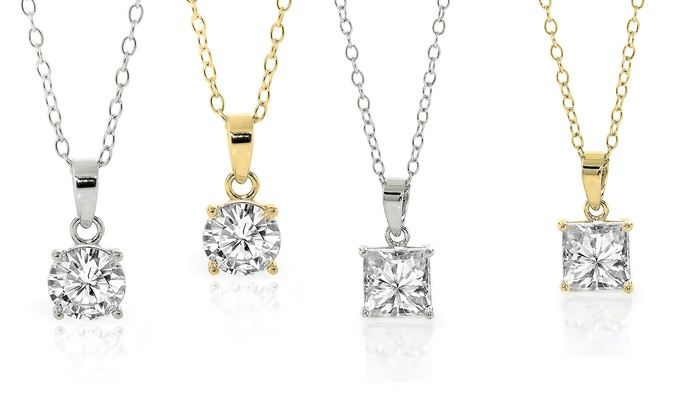 Princess or round cut cz pendant groupon goods cubic zirconia pendant in rhodium or 14k gold over sterling silver cubic zirconia princess or aloadofball Gallery