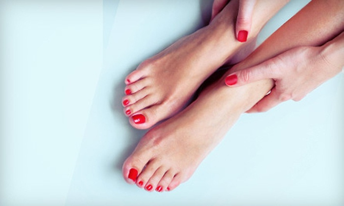Deja vu Salon & Spa - Suffern: Shellac Manicure and Holiday Pedicure, Blowout and Makeup Application, or Both at Deja vu Salon & Spa (Up to 57% Off)