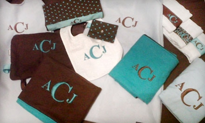 Joys of Thread: $5 for Your Choice of Custom-Made T-Shirt, Embroidered Tote Bag, or Set of Three Burp Cloths from Joys of Thread ($10 Value)