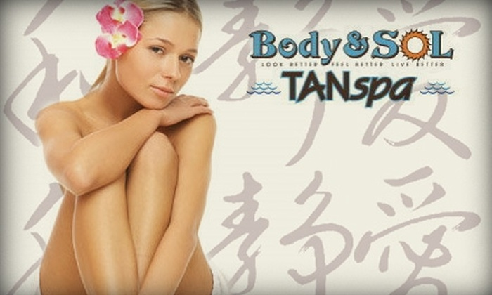 Body and Sol TANspa - St. Louis Park: $57 for One-Hour Massage Plus Eye Treatment and One Spray Tan at Body and Sol TANspa ($115 Value)