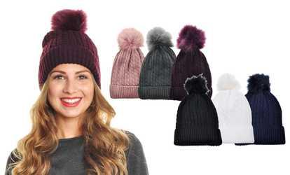 Shop Groupon Angelina Women s Fleece-Lined Cable Knit Beanie with Furry  Pom-Pom dbf66e1337a1