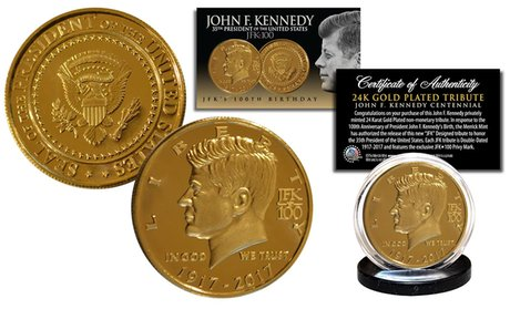 John F. Kennedy 100th Birthday 24K Gold Plated Tribute Coin