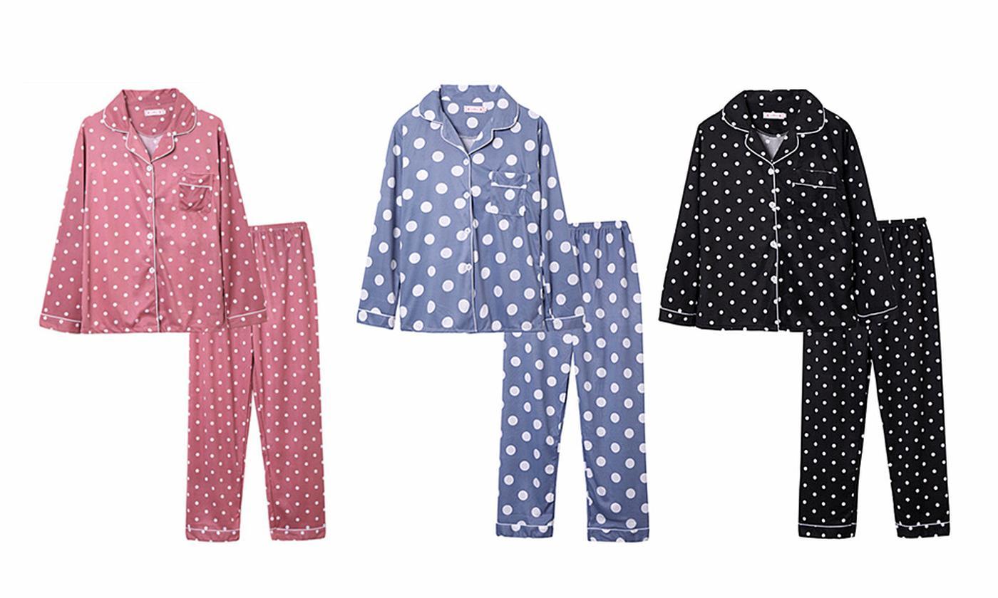 Women's Long-Sleeve Polka Dot Pyjamas
