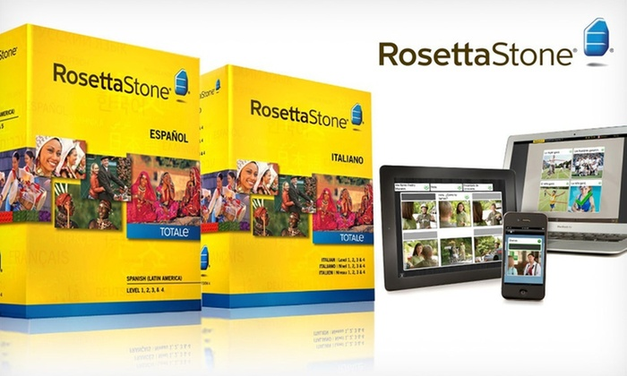 Rosetta Stone Language Course: Rosetta Stone French, Italian, or Spanish Level 1–4 Set. Free Shipping.
