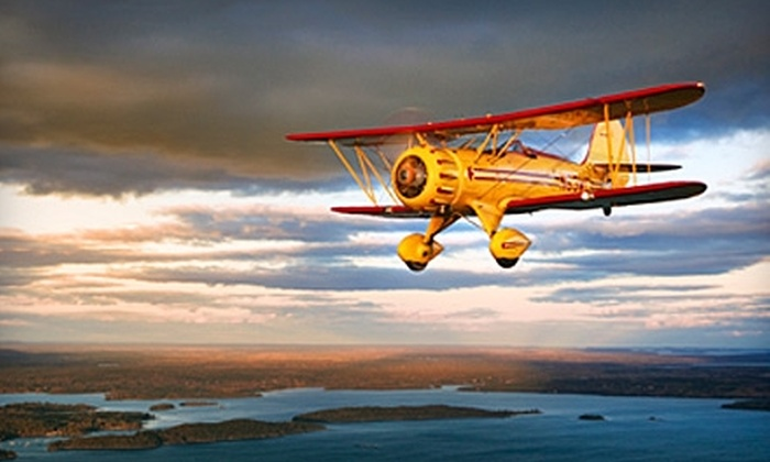 Acadia Air Tours - Bar Harbor Airport: $85 for Biplane Flight or Glider Ride Over Acadia National Park from Acadia Air Tours in Trenton (Up to $219 Value)