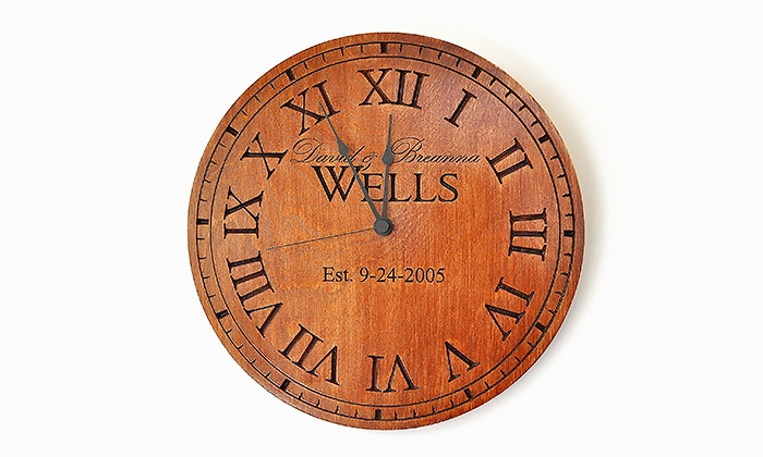 MRC Wood Products: One or Two 13-Inch Carved Wooden Family-Name Clocks from MRC Wood Products (Up to 41% Off)