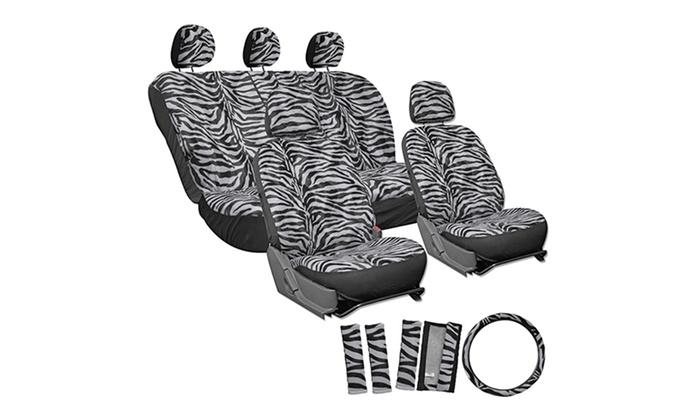 Zebra Stripe Velour Car Seat Cover Set 17 Piece