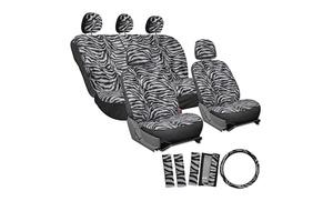 Zebra-Stripe Velour Car Seat Cover Set (17-Piece)