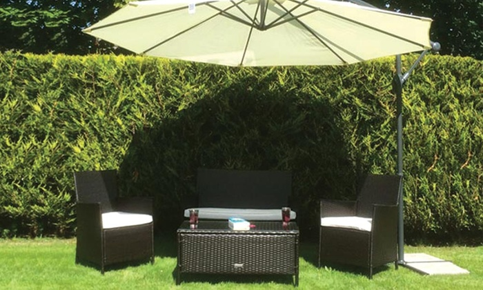 Rattan effect outdoor furniture groupon goods for Garden furniture 70 off
