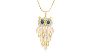 18K Gold Overlay Crystal Owl Necklace