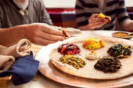 Abyssinia Ethiopian Restaurant: Vegetarian or Messob Platter for Two at Abyssinia Ethiopian Restaurant (45% Off)