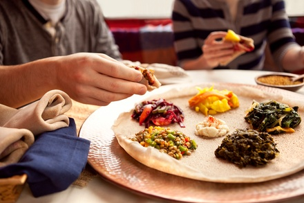 Vegetarian or Messob Platter for Two at Abyssinia Ethiopian Restaurant (45% Off)