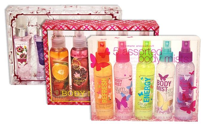 Simple Pleasures 5-Bottle Body Mist Sets: Simple Pleasures 5-Bottle Body Mist Sets. Multiple Sets Available.