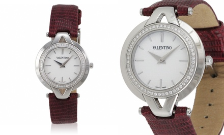 Valentino Watch with Red Lizard-Leather Band