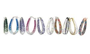 Graduated Crystal Hoop Earrings made with Swarovski Elements: Graduated Crystal Hoop Earrings made with Swarovski Elements