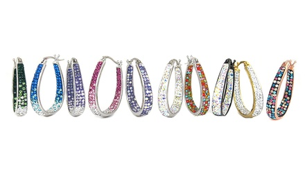 Graduated Crystal Hoop Earrings made with Swarovski Elements